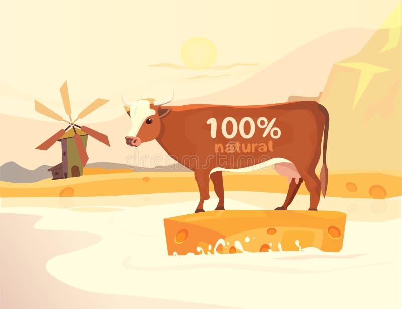 Vector o projeto com vaca, Milk River e paisagem ilustração stock