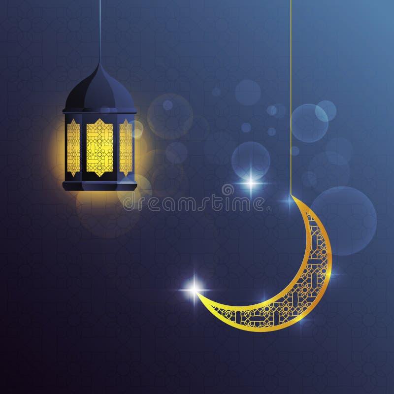 Vector o projeto de atributos dourados muçulmanos tradicionais da lanterna e da lua com os testes padrões isolados no fundo azul ilustração stock