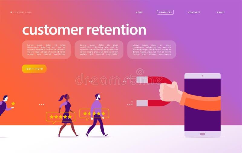 Vector o projeto de conceito do página da web, tema da retenção do cliente ilustração stock