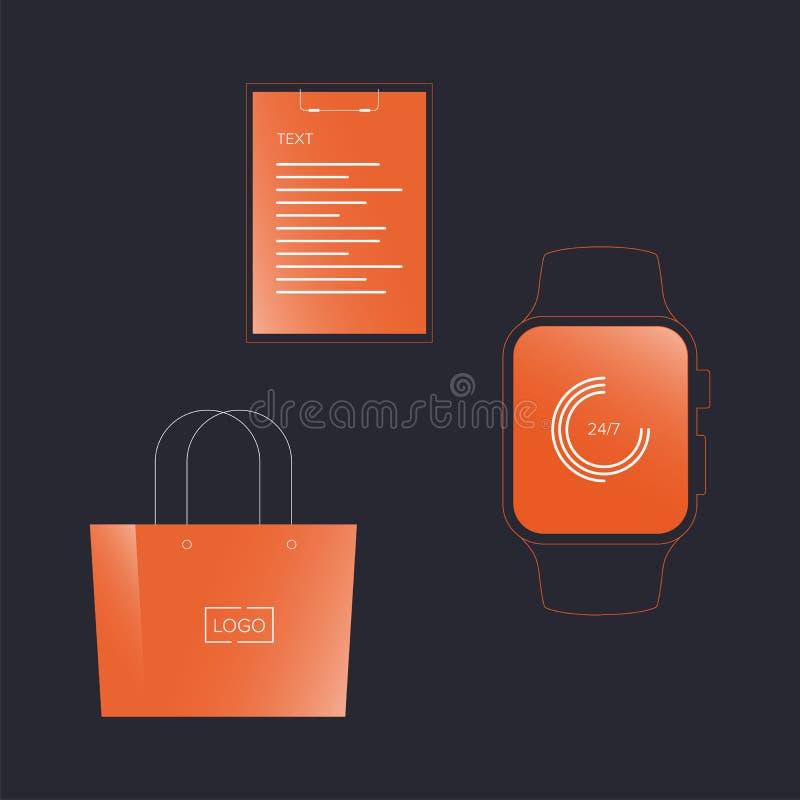 Vector o pulso de disparo do écran sensível do modelo, tabuleta para o pacote do original e o de papel ilustração do vetor