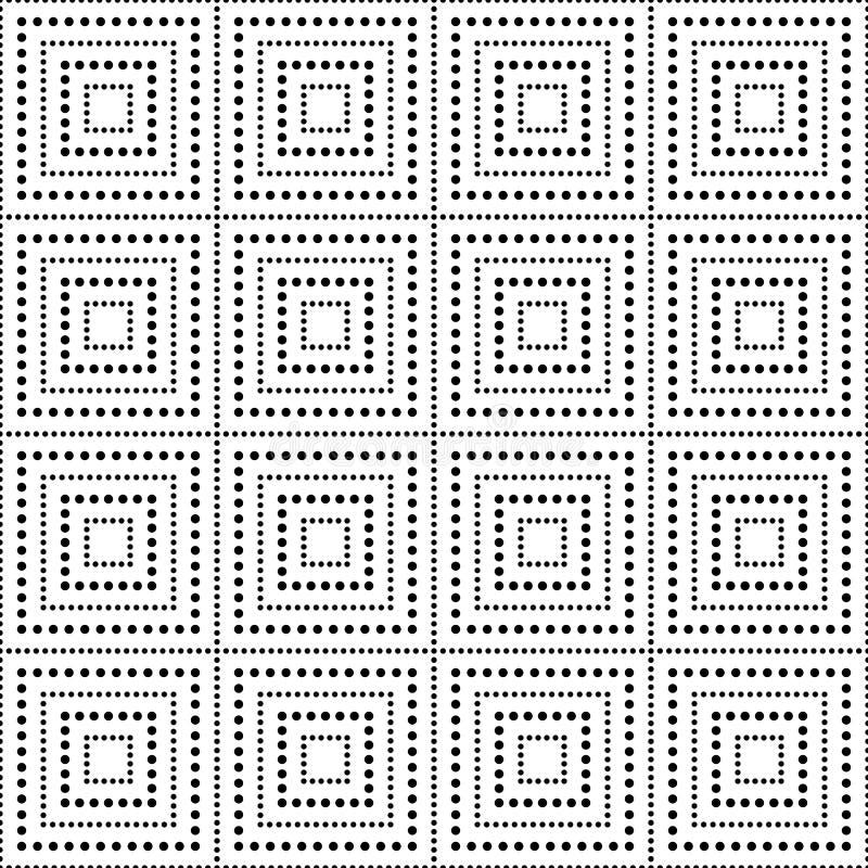 Vector o quadrado sem emenda moderno do teste padrão da geometria, sumário preto e branco ilustração stock