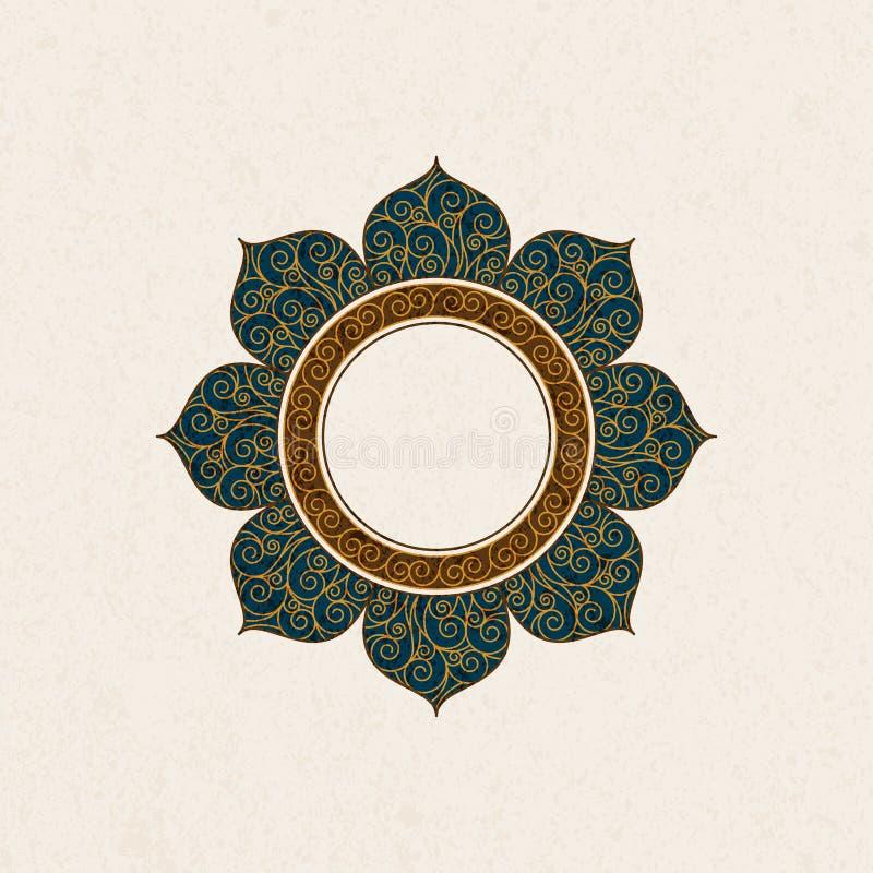 Vector o quadro árabe do vintage numa forma de um quadro com decoração colorida ilustração stock