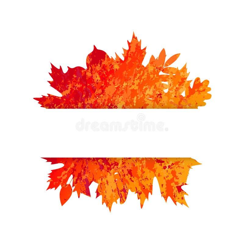 Vector o quadro com as folhas de outono coloridas no estilo do grunge ilustração do vetor