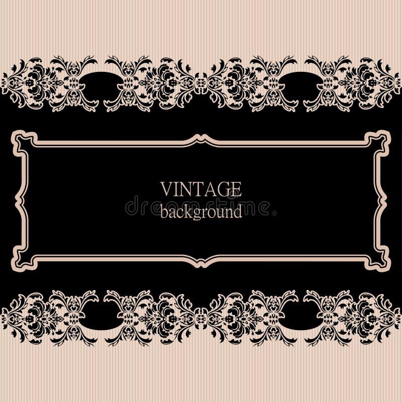 Vector o quadro da beira do vintage com teste padrão retro do ornamento ilustração royalty free
