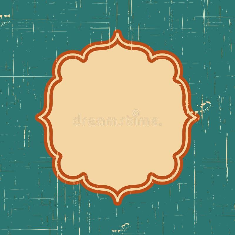 Vector o quadro da beira do vintage com teste padrão retro do ornamento no projeto decorativo do estilo antigo Textura velha da f ilustração stock
