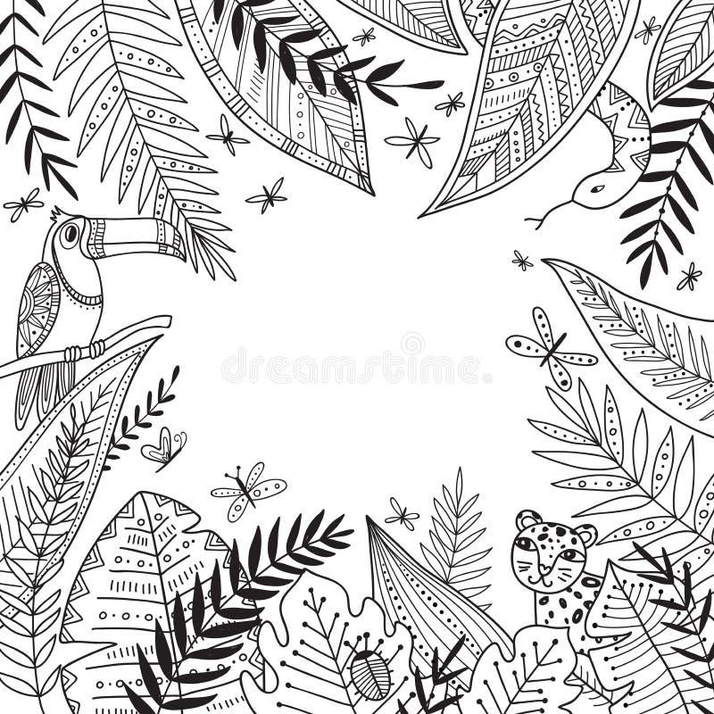 Vector o quadro da selva com as plantas exóticas no estilo tribal do boho ilustração stock