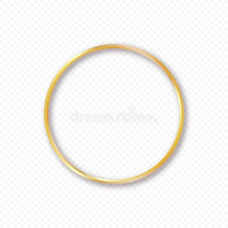 Vector o quadro do círculo do ouro com sombra no fundo transparente Molde elegante do projeto para convites, cartões ilustração royalty free