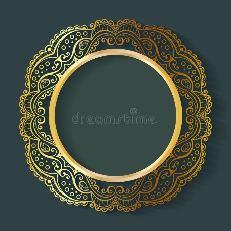 Vector o quadro do círculo do vintage feito do laço com sombra ilustração stock