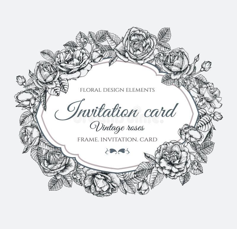Vector o quadro floral com as rosas no estilo do vintage Cartão do convite com as flores tiradas mão ilustração royalty free