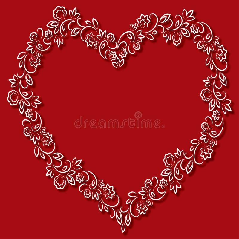Vector o quadro floral na forma dos corações em um fundo vermelho ilustração stock