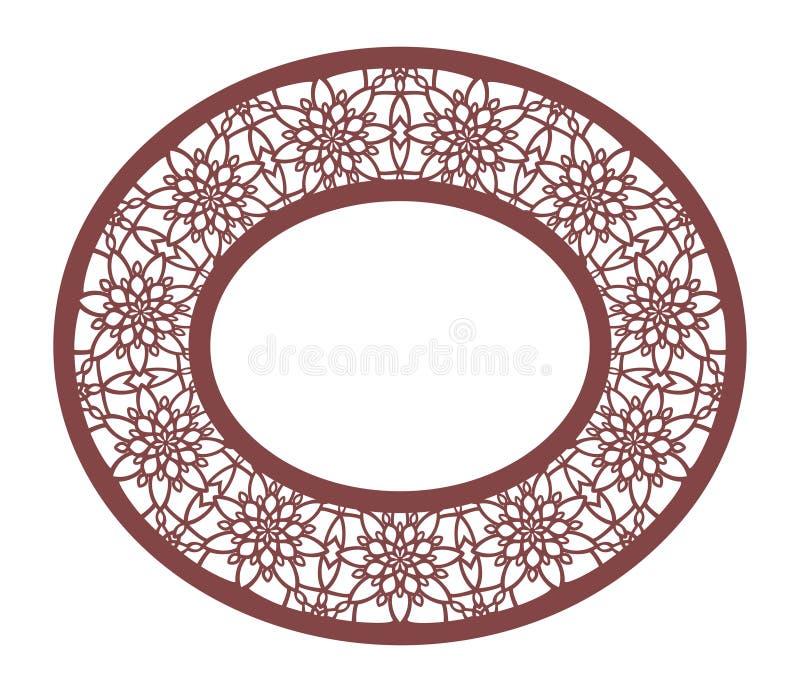 Vector o quadro oval laçado do estêncil com teste padrão a céu aberto cinzelado Tem ilustração royalty free