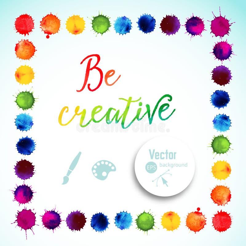 Vector o quadro quadrado feito de gotas do arco-íris da aquarela, textura colorida das gotas da pintura Ilustração do vetor, manc ilustração do vetor