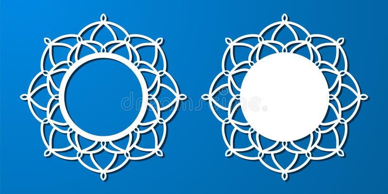 Vector o quadro redondo laçado do estêncil com teste padrão a céu aberto cinzelado ilustração do vetor
