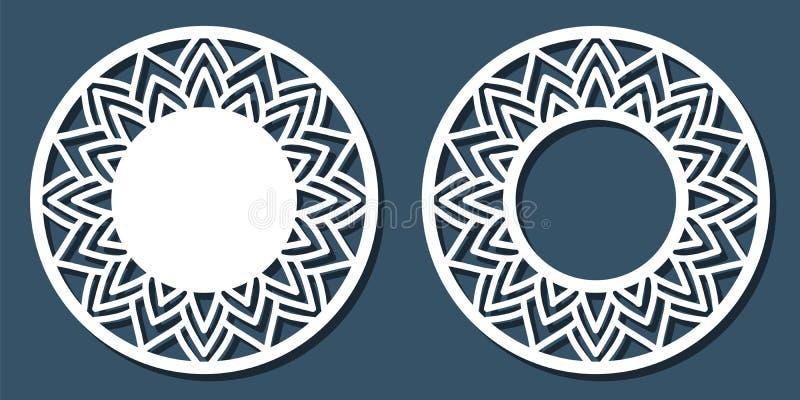 Vector o quadro redondo laçado do estêncil com teste padrão a céu aberto cinzelado te ilustração do vetor