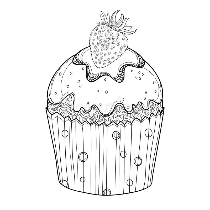 Vector o queque do esboço com a baga madura da morango no preto isolada no fundo branco Desenho do bolo com morango ilustração do vetor