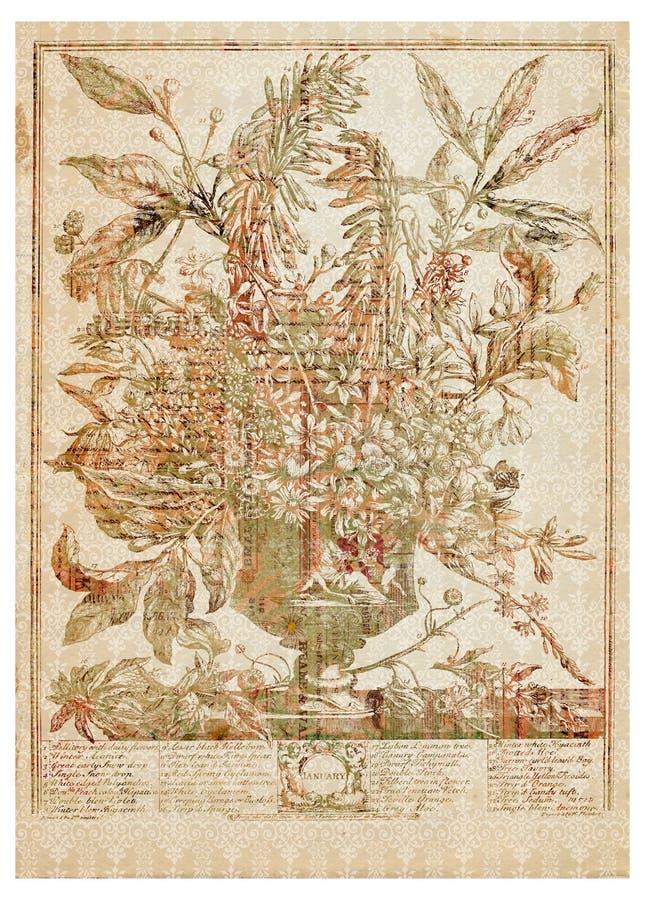 Vector o ramalhete da flor do Victorian no vaso com texto ilustração royalty free