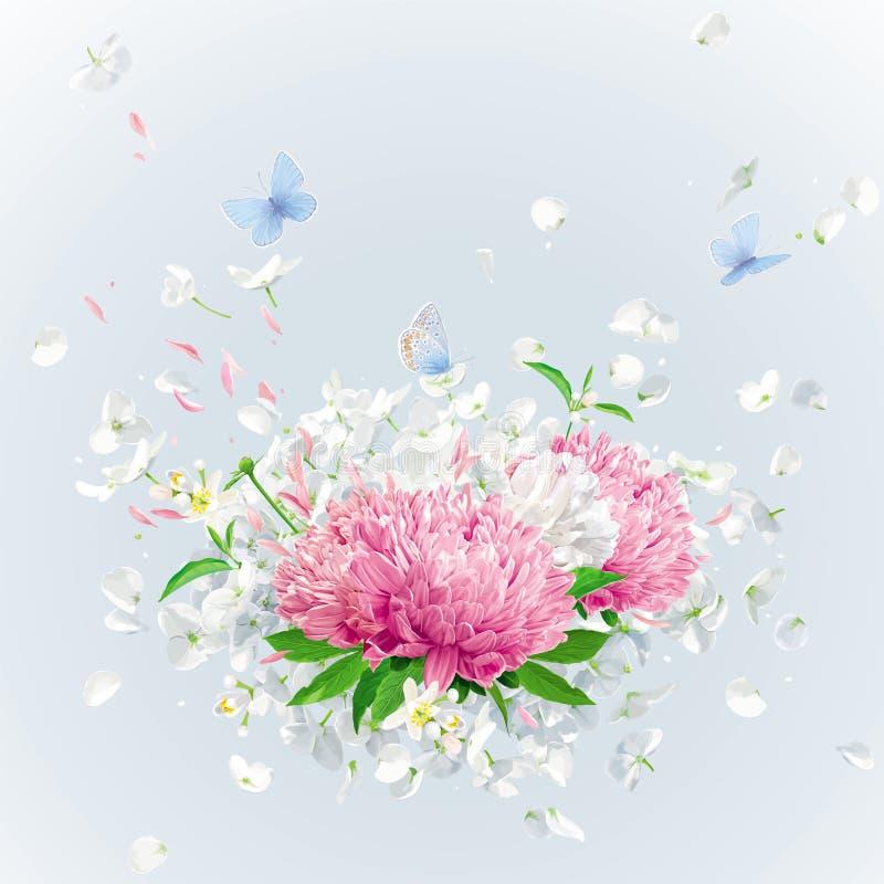 Vector o ramalhete floral com pétalas e borboletas do voo ilustração stock