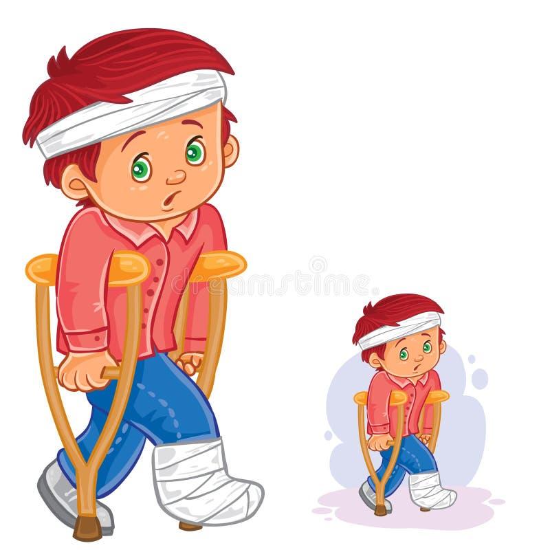 Vector o rapaz pequeno em uma muleta com um pé em um emplastro e em uma cabeça enfaixada ilustração do vetor
