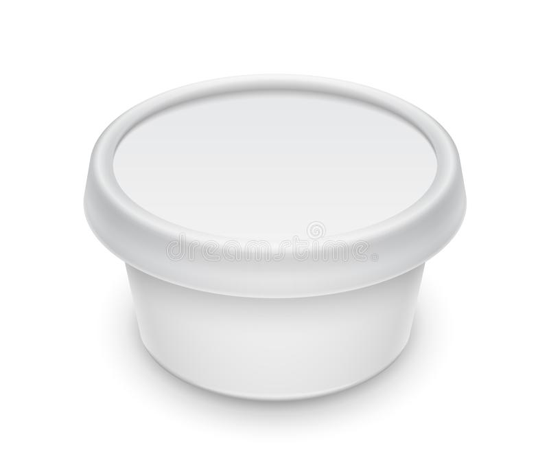 Vector o recipiente redondo branco para a propagação dos cosméticos creme, da manteiga ou da margarina ilustração do vetor