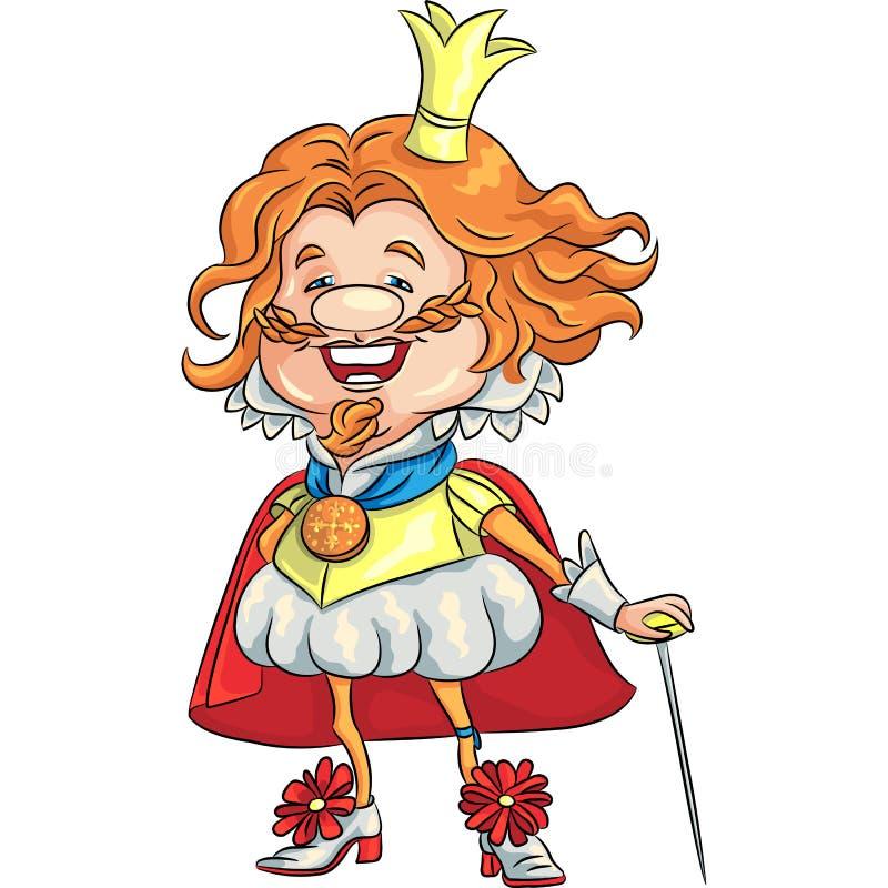 Vector o rei de sorriso feliz dos desenhos animados com um cr dourado ilustração do vetor