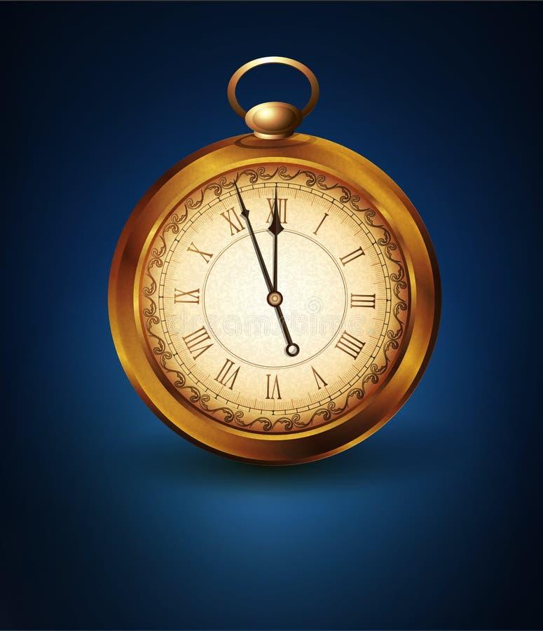 Vector o relógio de bolso do vintage em um fundo azul ilustração royalty free