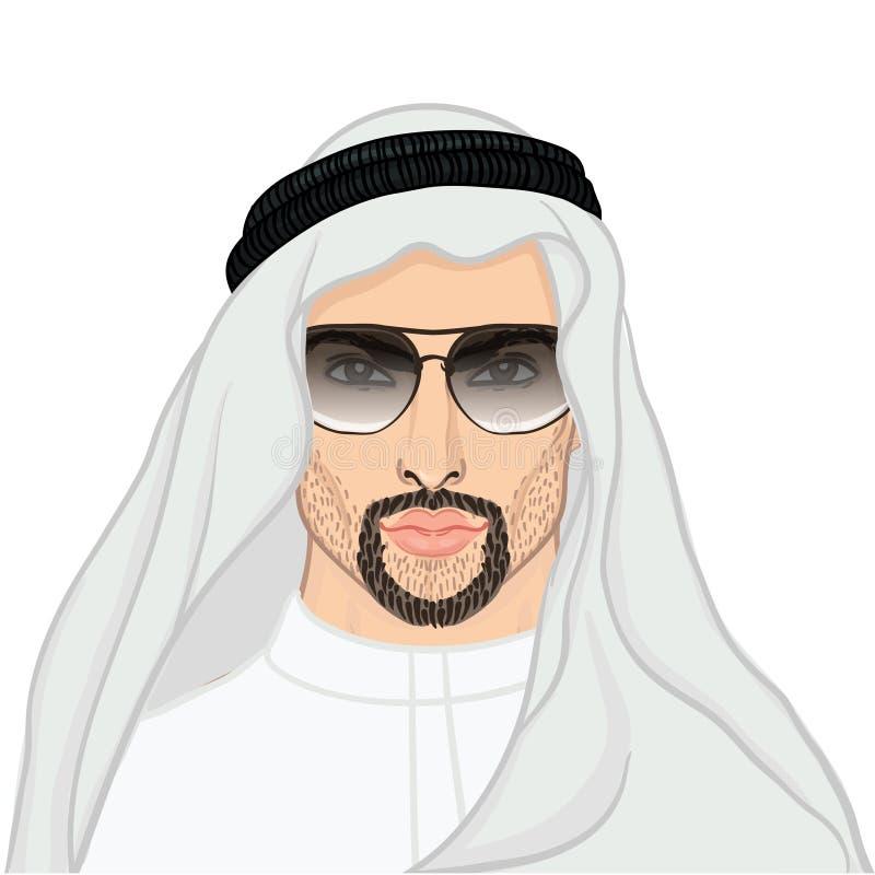 Vector o retrato da ilustração de um homem árabe no keffiyeh ilustração stock