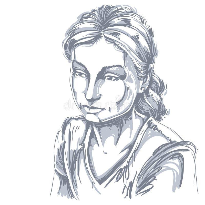 Vector o retrato da mulher atrativa triste, ilustração de bom-lo ilustração do vetor
