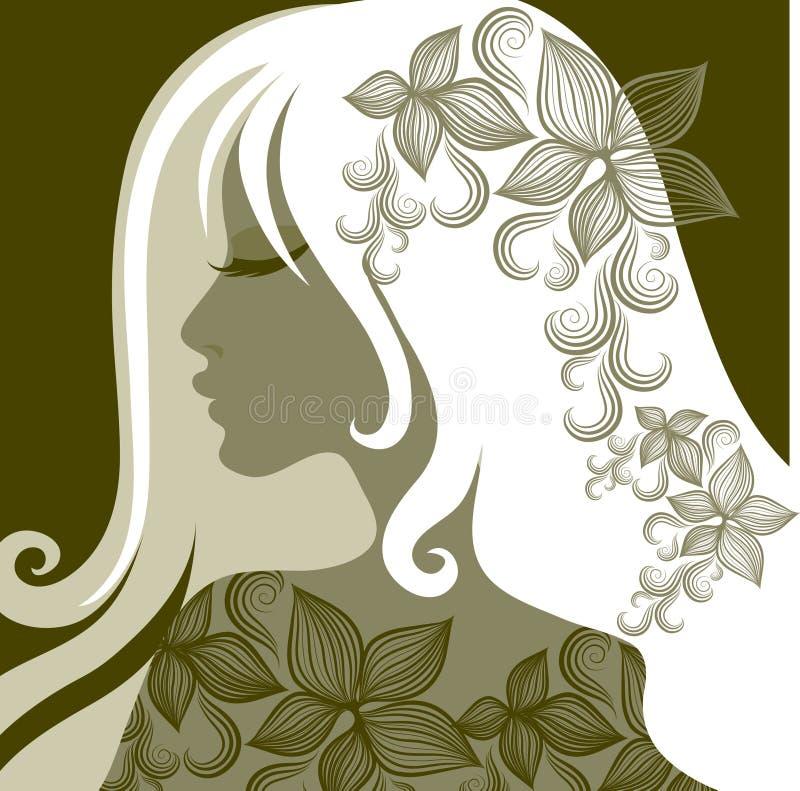 Vector o retrato da mulher com a flor no cabelo ilustração do vetor