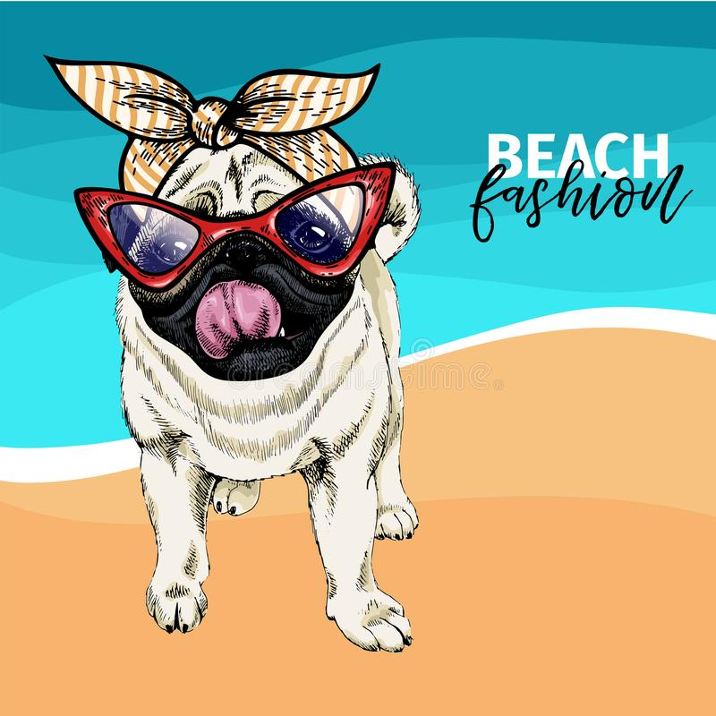 Vector o retrato de óculos de sol vestindo do cão do pug e do bandana retro Ilustração da forma do verão Férias, mar, praia ilustração stock