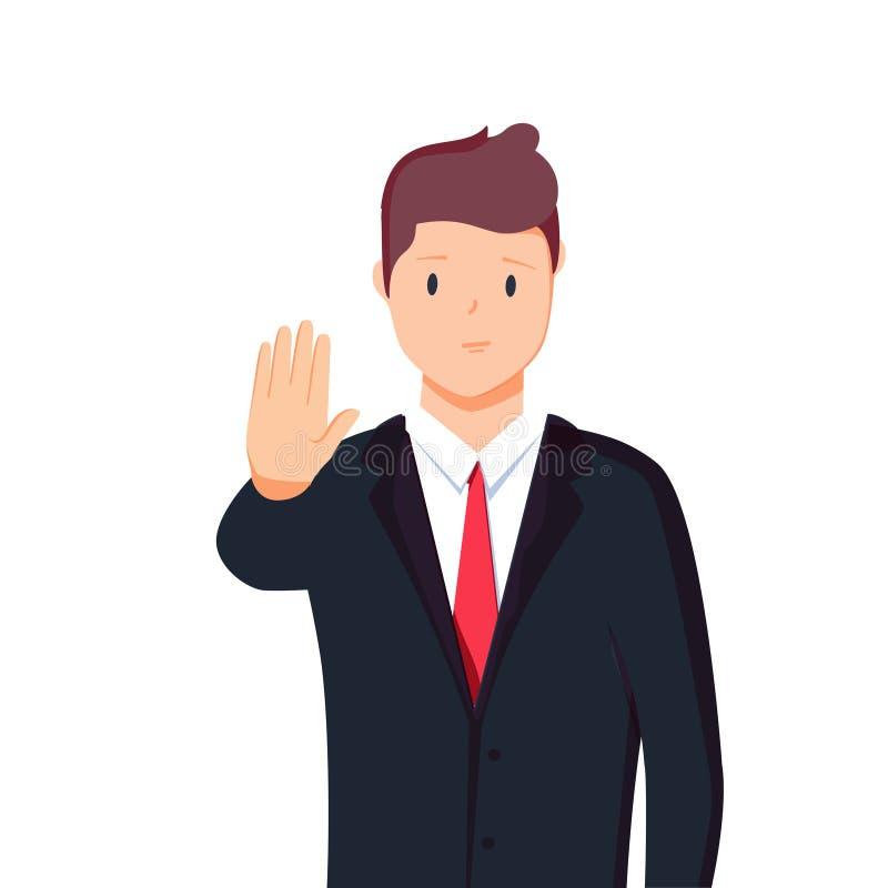 Vector o retrato do caráter da ilustração do homem de negócios, levantando a mão, estiramento da palma para a frente, linguagem c ilustração do vetor