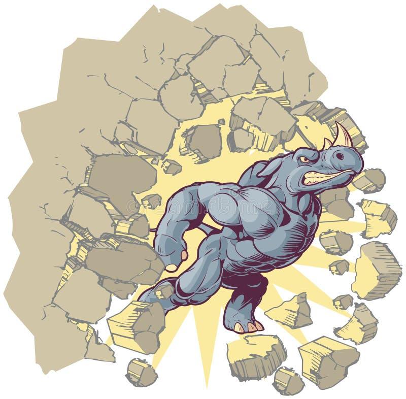 Vector o rinoceronte dos desenhos animados da mascote que deixa de funcionar através de uma parede ilustração do vetor