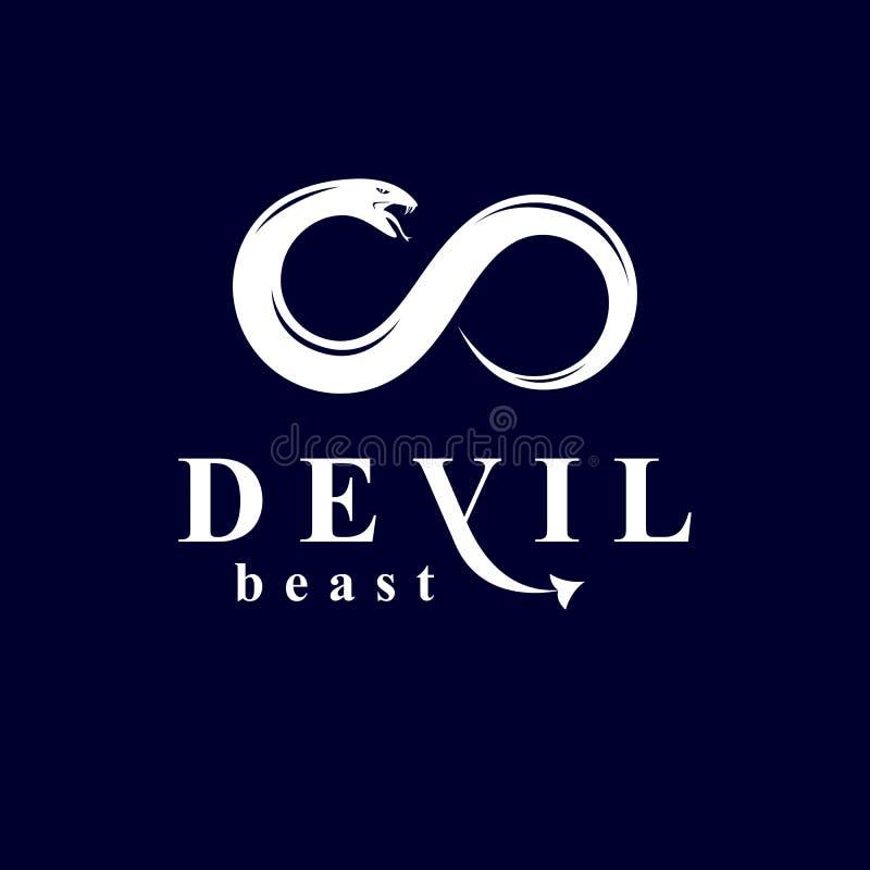 Vector o símbolo da serpente criado na forma de ilimitado Spir mau ilustração royalty free