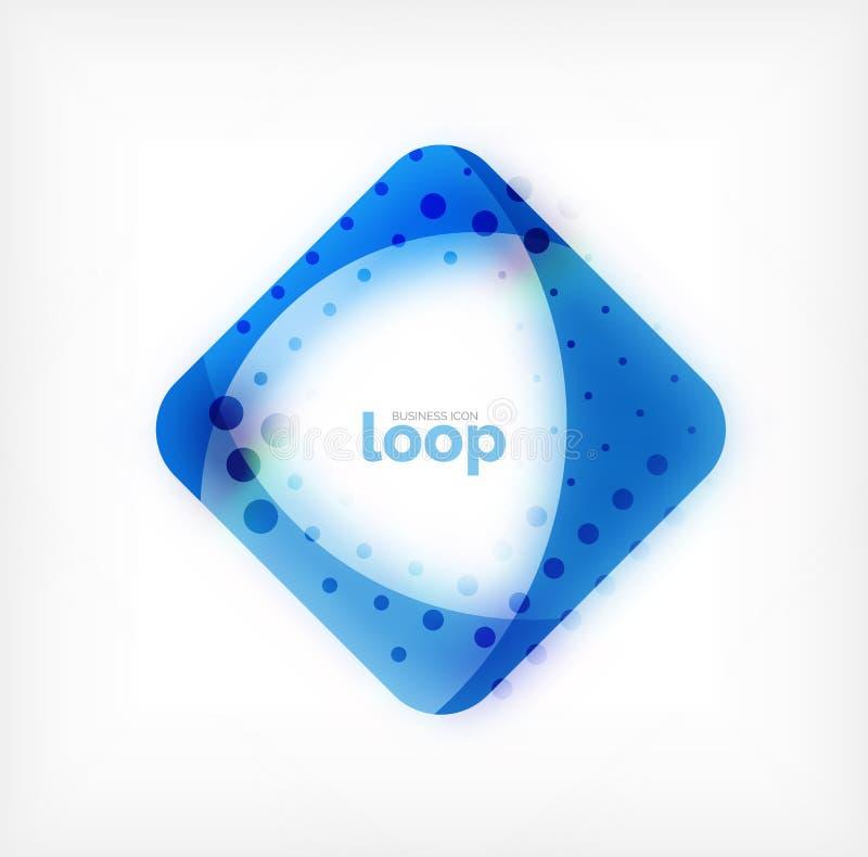 Vector o símbolo quadrado do negócio do laço, ícone geométrico criado das ondas, com a sombra borrada ilustração do vetor