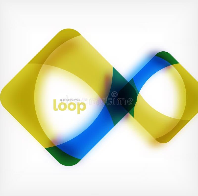 Vector o símbolo quadrado do negócio do laço, ícone geométrico criado das ondas, com a sombra borrada ilustração royalty free