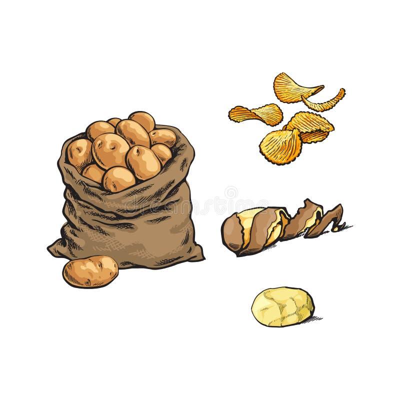 Vector o saco da batata crua do esboço, microplaquetas, grupo da casca ilustração royalty free