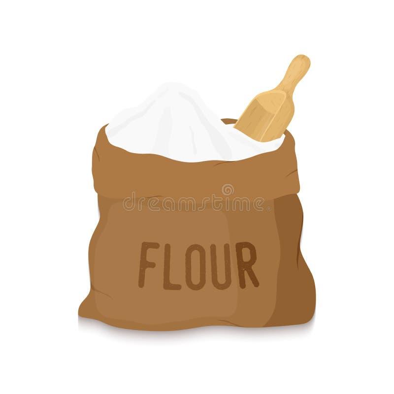 Vector o saco da lona com farinha branca, colher de madeira ilustração royalty free