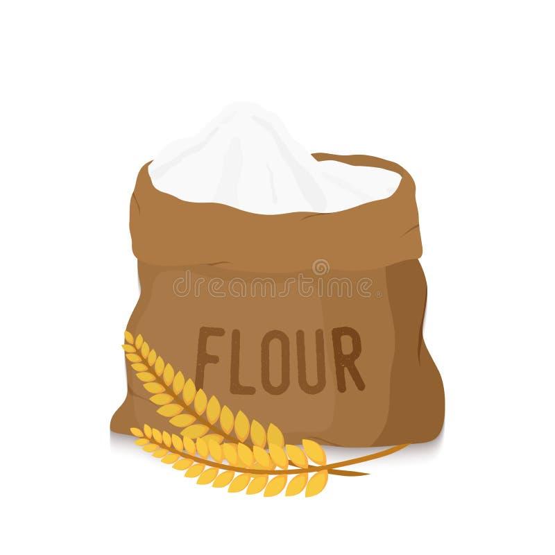 Vector o saco da lona com farinha branca, orelhas douradas ilustração do vetor