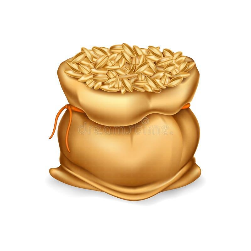 Vector o saco realístico da lona completamente das grões ou do cereal ilustração do vetor