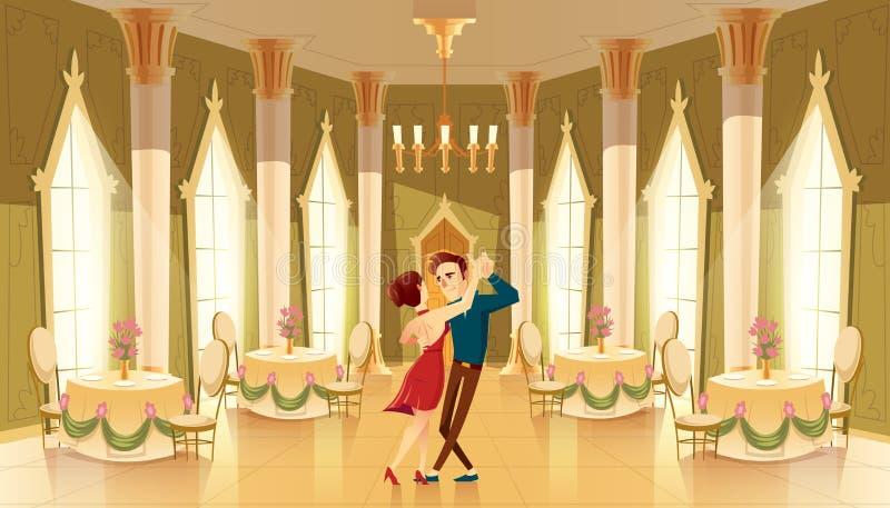 Vector o salão de baile, salão com os dançarinos no palácio ilustração stock
