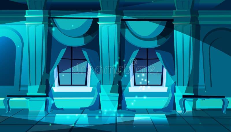 Vector o salão de baile na noite, salão do castelo de dança ilustração royalty free