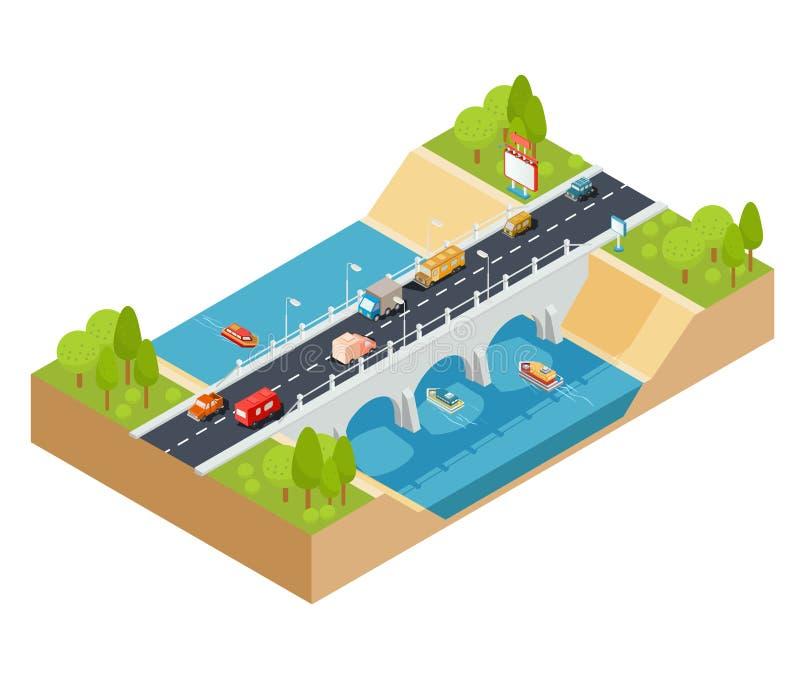 Vector o seção transversal 3D isométrico de uma paisagem com uma ponte de fluxo do rio e do automóvel através dela ilustração stock