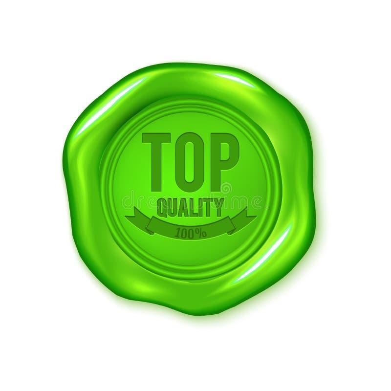 Vector o selo verde da cera isolado na qualidade branca, superior, pancada do vegetariano ilustração royalty free