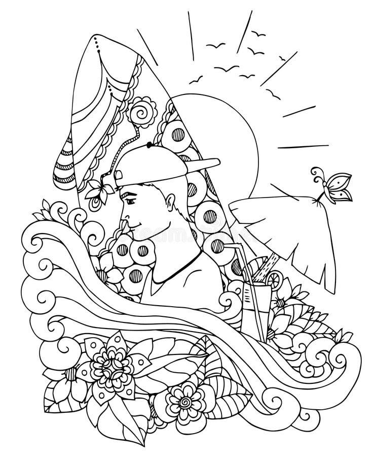 Vector o serfeng do homem do zentangl da ilustração, mar, verão Floresça o frame Desenho da garatuja Exercícios meditativos Livro ilustração stock
