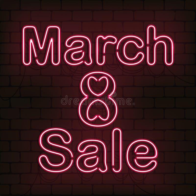 Vector o sinal de néon 8 da venda de março para a decoração no fundo da parede Conceito do dia feliz do ` s das mulheres fotos de stock royalty free