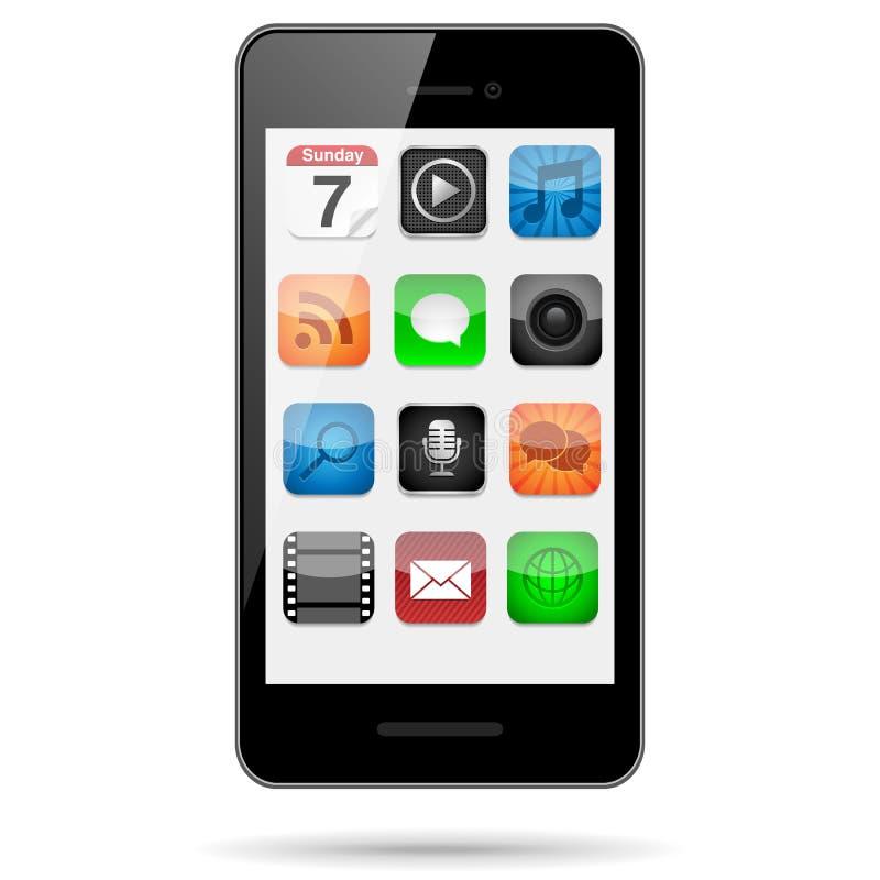 Smartphone com ícones do App ilustração stock