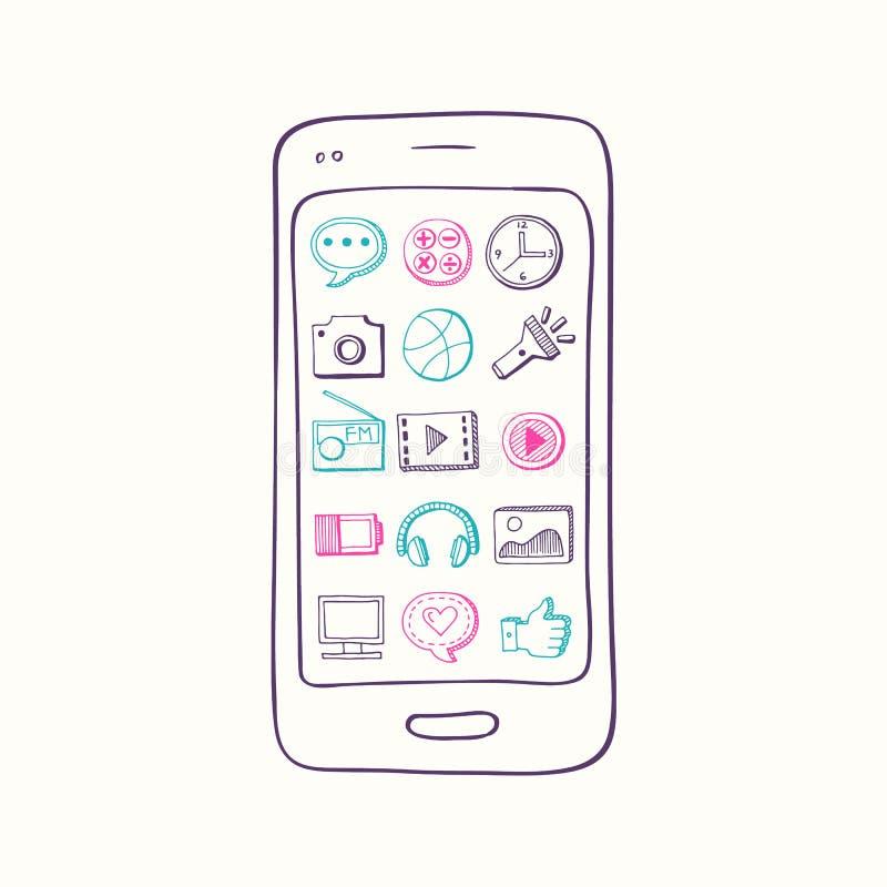 Vector o smartphone tirado mão com elementos do ícone do app na tela ilustração royalty free