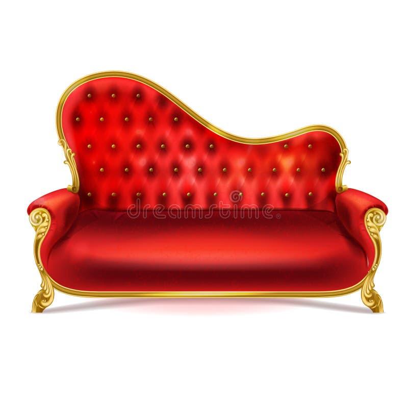 Vector o sofá de couro vermelho luxuoso realístico, sofá ilustração royalty free