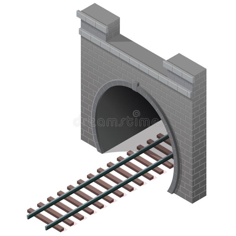 Vector o túnel baixo-poli railway, perspectiva 3d isométrica Edifício de pedra velho ilustração do vetor