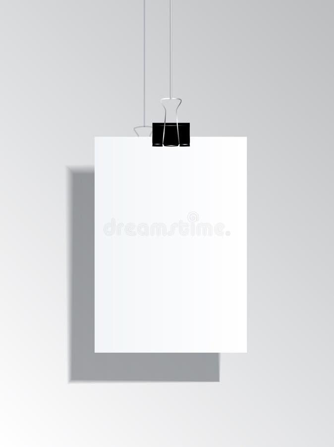 Vector o tamanho realístico ajustado ascendente trocista A4 do inseto e do cartaz em vagabundos cinzentos ilustração do vetor