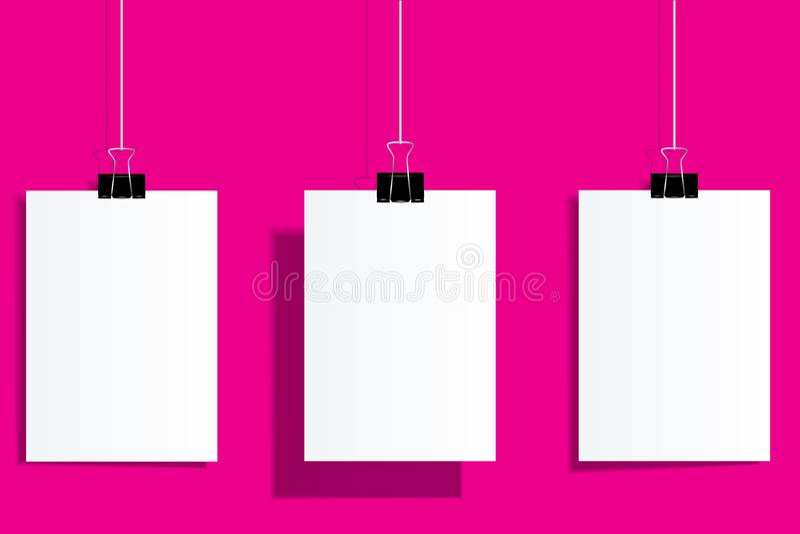 Vector o tamanho realístico ajustado ascendente trocista A4 do inseto e do cartaz em vagabundos cor-de-rosa ilustração stock